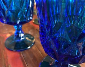Cobalt blue vintage goblets