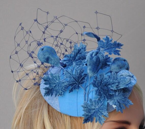 Blue Fascinator, Wedding Fascinator, Wedding Hat, Derby Fascinator Hat, Ladies Blue Hat
