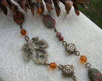 Flavors Of Fall - Antique Brass Maple Leaf, Unakite, Red Sesame Jasper, Antique Brass Filigree