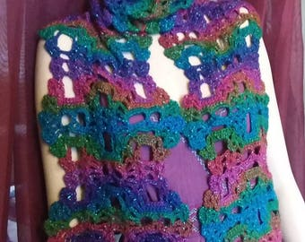 Crochet Sparkly Scarf winter goth gothic Christmas Halloween crocheted lost souls day of the dead