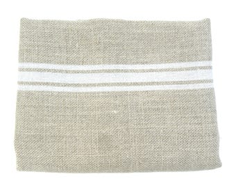 Linen with white stripes 50 x 80 cm