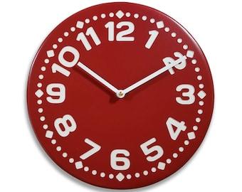 Wood wall clock. Colorful wall clock. Modern wall clock. Rusty red wall clock. 11 inch diameter wall clock. CL4014