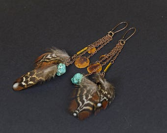 Long earrings Boho earrings Feather earrings Boho jewelry Feather jewelry Ethnic earrings Tribal earring Rustic jewelry Rustic copper studio