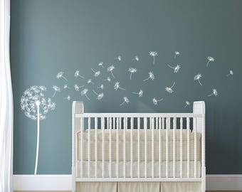 "Dandelion ""The Sophia""  Vinyl Wall Decal with 31 DIY floating seed decals K545"