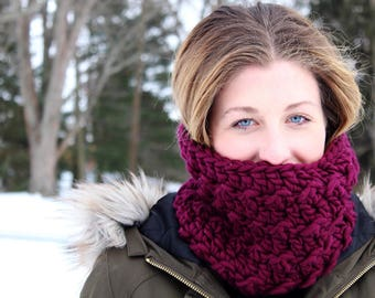 Purple Cowl // Crohet Textured Cowl // Jewel Tone Cowl // Gift for Her