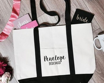 Penelope Bridesmaid Boat Tote Bag | Bridesmaid Tote Bag | Bridesmaid Totes | Bridal Party Tote Bags | Bachelorette Party Totes | Bridal Gift