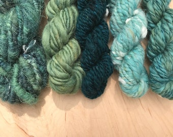 Weaving Yarn Bundle Hand Spun Yarn, Yarn for Weaving, Knitting, Yarn Pack, Fiber Art, Green-Blue