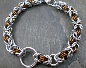 Chainmaille Bracelet - Byzantine Weave - Bronze and Silver - Chainmail Jewelry - Chainmail Bracelet - Chainmaille Jewelry