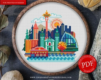 Seattle Cross Stitch Pattern for Instant Download *P076 | Easy Cross Stitch| Counted Cross Stitch|Embroidery Design| City Cross Stitch