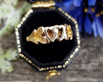 Vintage 1979 9ct Yellow Gold Luckenbooth Entwined Love Heart Ring / Size Q 1/2