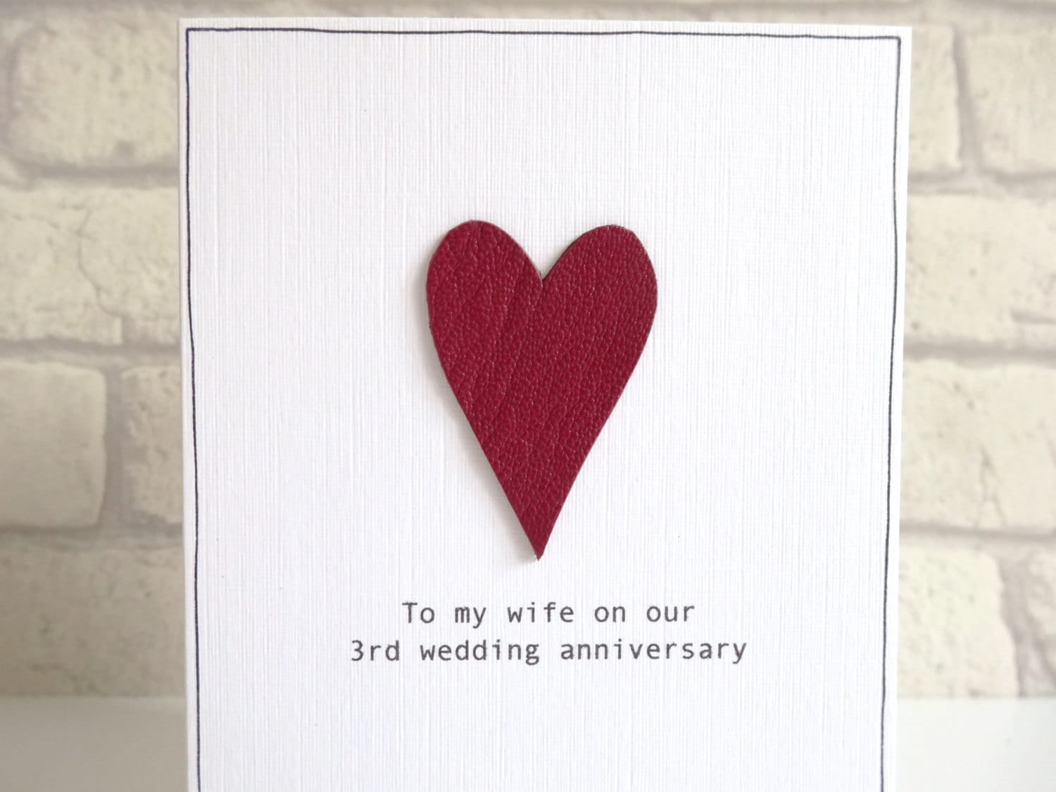 3rd Wedding Anniversary Gift For Husband: 3rd Anniversary Card Romantic Personalised Leather Wedding