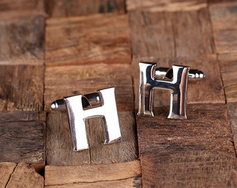"""Initial """"H"""" Personalized Men's Classic Cuff Link with Wood Box Monogrammed Engraved Groomsmen, Best Man, Father's Day Gift"""