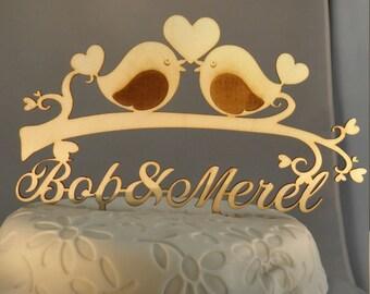 Personalized Laser cut Wooden cake topper Love Birds