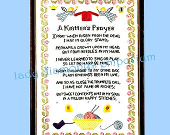 """A Knitters Prayer, Vintage """"Progress"""" Embroidery Cross Stitch Sampler Kit # 819 Knitting Room Décor Sealed in Pack Easy & Fun to Make"""