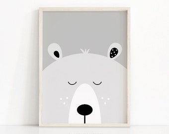 Bear Print, Digital Download Nursery Print, Bear Nursery Decor, Kids Art, Animal Print For Nursery, Kids Print, Instant Download Printable
