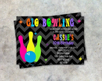 Glow Bowling Party Invitation Customized Birthday Party DIY Printable or PRINTED and Shipped