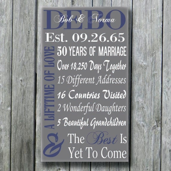 50th Anniversary For Husband Gifts: Personalized 50th 30th 35th 40th 45th Anniversary Gift