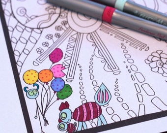 Children's Set of 3 Printable Doodle Coloring Pages Instant pdf Download Original Cartoon Art Activity