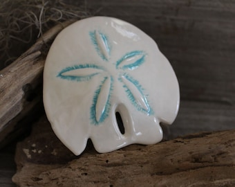 Mosaic Tiles - 3 Ceramic Sand Dollars - Ceramic Mosaic Pieces - Mosaic Supply - Item # E-1050 - White and Turquoise - Handmade Tesserae
