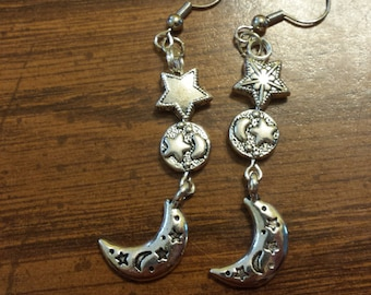Beaded Star and Moon Earrings