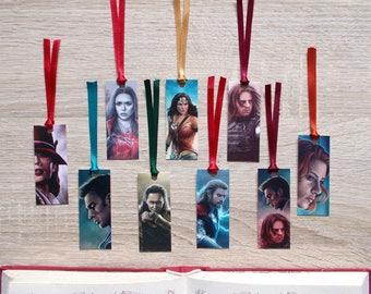 Superhero mini bookmarks - Thor, Loki, Wonder Woman, Captain America, Black Widow & Co!