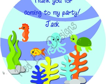 "Sea Life Style Fish Stickers - Sheet of 20 - 2"" round.  Ocean Birthday Party Favors.  2 Inch Round Fish Birthday Stickers"