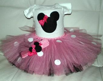 Mini Mouse Outfit, Birthday Tutu Set, Halloween Costume, Tutu and Onesie