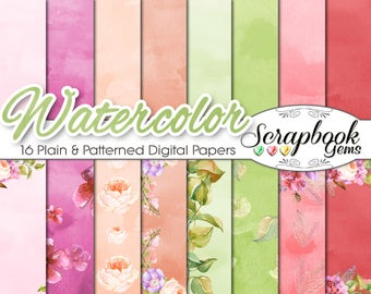 """Watercolor Flowers Papers Set 2, 12"""" x 12"""", High Quality 300 dpi JPEG files, Instant Download spring easter flowers buds petals fresh"""