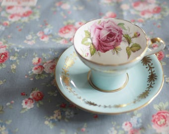 Aynsley cabbage rose vintage tea cup