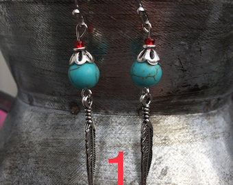 Turquoise Feather Dangles
