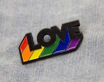 "Rainbow ""LOVE"" Enamel Pin for Gay Pride March LGBT Rights - Lapel Pins Brooch Accessory LGBTQ"