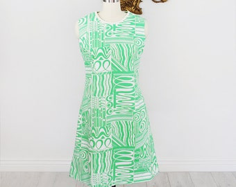 Vintage 1960's Kelly Green Abstract Print Shift Dress