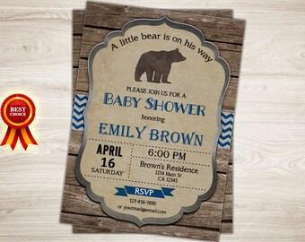 Bear Baby Shower Invitation. Rustic Bear Baby Shower Invite. Boy Woodland Baby Shower Invitation. Printable Baby Boy Shower Bear Invitation