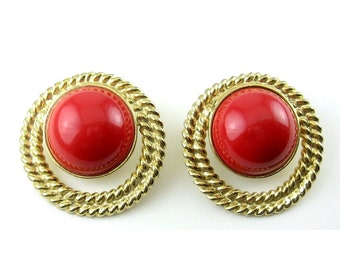 1970's TRIFARI Gold Rope & Red Cabochons BIG Clip-On Dome Earrings - Nautical Chic!