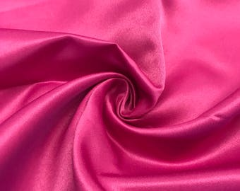 "Magenta Matte Satin (Peau de Soie) Duchess Fabric Bridesmaid Dress 60"" Wide Sold BTY"