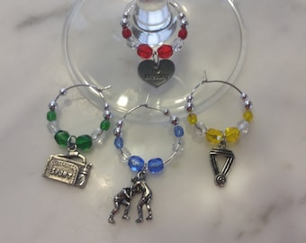 WRESTLING WRESTLER Wine Charms with Pouch