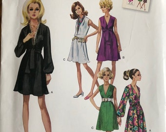 Simplicity SO346/1059, Size 6-8-10-12-14, Misses' Dress and Sash or Scarf Pattern, UNCUT, Jiffy, Retro, Simple To Sew, Sleeve Variations