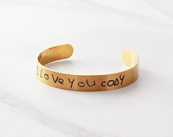 Mother's Day Gift - Handwriting Bracelet, Children's Actual Handwriting, Engraved Cuff Bracelet, Custom Bangle, Handwriting Gift - Medium