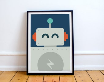 Robot Print! minimalist, playroom, nursery, children's bedroom, a.i., sci-if, science, rockets, humanoid,