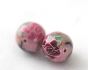 Polymer Clay Beads, Round Beads, Light Pink Flowers Pair