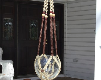 Large Macrame plant hanger, brown and beige, 4 mm Polyolefin cord, wooden beads, neutral color hanger, unique retro style, boho style