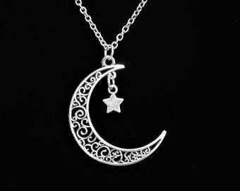 Filigree Crescent Moon & Star Pendant, Boho, Hippie Nostalgia (Stock #6637)
