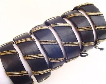 10 Black Leather Bracelets - Handmade Peruvian Jewelry Art
