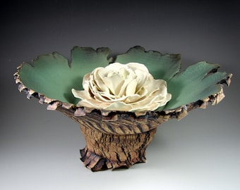 """Large Ceramic Pedestal Bowl with Porcelain Flower - """"Forest Flower"""" - Handmade Pottery Centerpiece Bowl - Ships Today"""