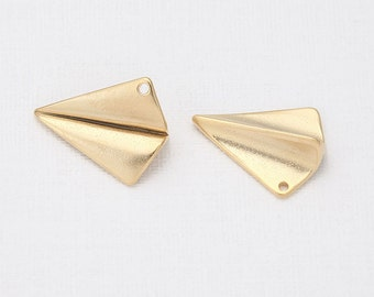 Paper Air Plane Beads Matte Gold-Plated - 2 Pieces [B0001-MG]