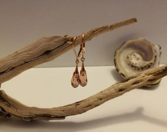 Rose gold filled and rose Swarovski Crystal Gold drop earrings