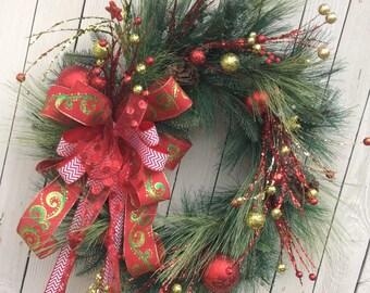 Christmas Wreath, Classic Christmas Wreath, Natural Christmas Wreath, Front door Christmas Wreath, Double Door Christmas Wreath, Red wreath