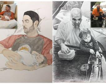 Custom Portrait From Photo, Custom Famliy portrait, family wall art, Custom baby Portrait watercolor, personalized portrait drawing