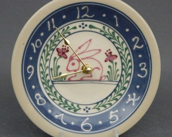 """7"""" Small Stoneware Clock Pink Bunny  Design  with Red  Pink and Green Accents Blue Band - Stoneware Pottery"""