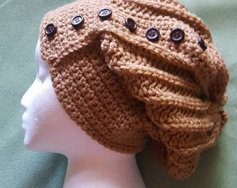 Crochet Brown Slouchy Hat